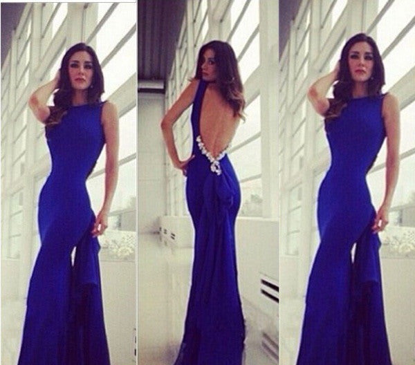 L103 Unique Royal Blue Backless Mermaid Round Sweep Train Prom Dress Evening Dress
