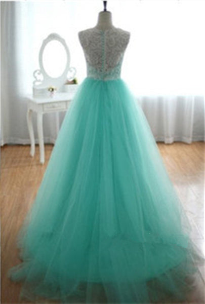 L107 O Neck Lace Top Mint Tulle Long Prom Dresses, Real Made Prom Dresses,Mint Tulle Long Prom Gowns