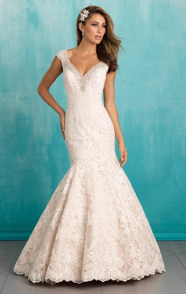 L110 Sexy V Neck Wedding Dresses, Mermaid Lace Wedding Dress, Unique Fashion Wedding Gowns