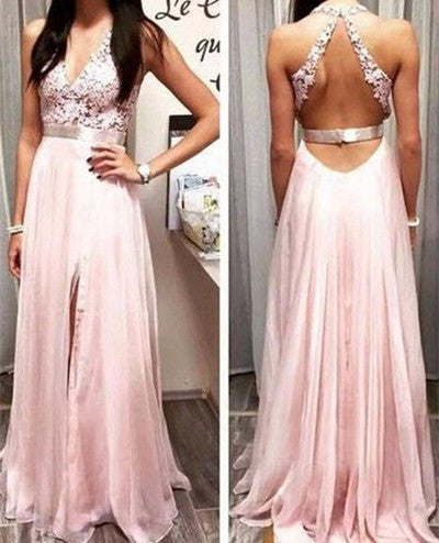 L120 Sexy V Neck Halter Sexy Slit Long Chiffon Evening Dress, Celebrity Evening Dresses, Bridal Evening Dress