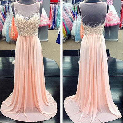 L121 Top Part A Line Long Chiffon Peals Evening Dress Sheer Back Long Pink Prom Gowns