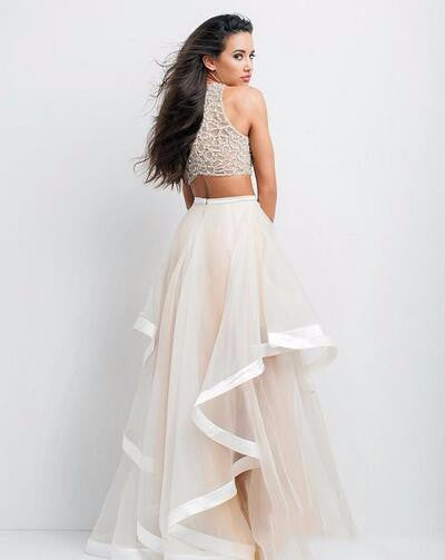 L123 Fully Beaded Top Bodice And Tulle Skirt With Horsehair Trim 2 Pieces Dress, Top Selling Cheap Tulle Long Evening Dresses