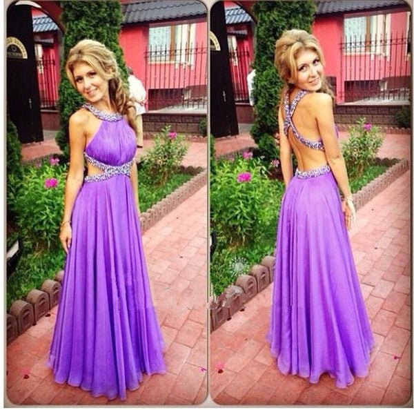 L125 Halter Neck Cross Backless Sexy Crystal Party Dresses, Charming A Line Long Chiffon Sexy Party Dresses Gown