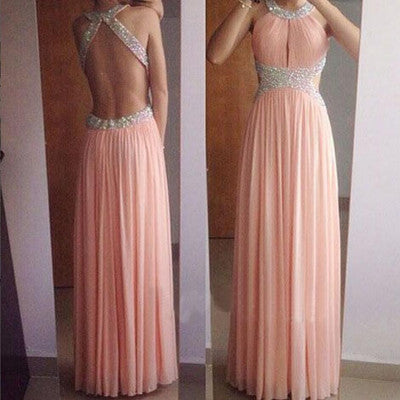 L128 A Line Long Chiffon Crystal Formal Evening Dresses with Beadings Pink Party Dresses