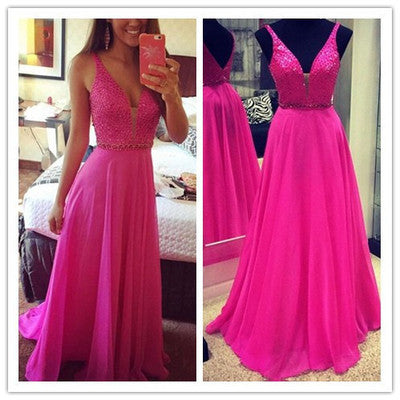 L225 V Neck A Line Rose Red Crystal Evening Dresses, Formal Long Chiffon Wedding Party Dresses Party Gown