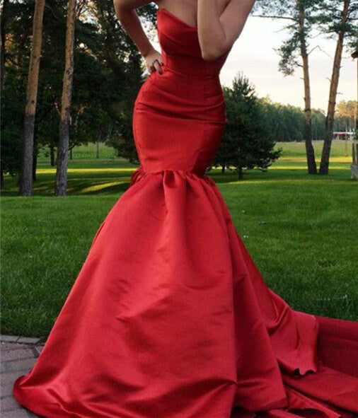 L130 Burgundy Sweetheart Pleat Chapel Train Mermaid Evening Dresses, Red Wine Long Evening Dresses