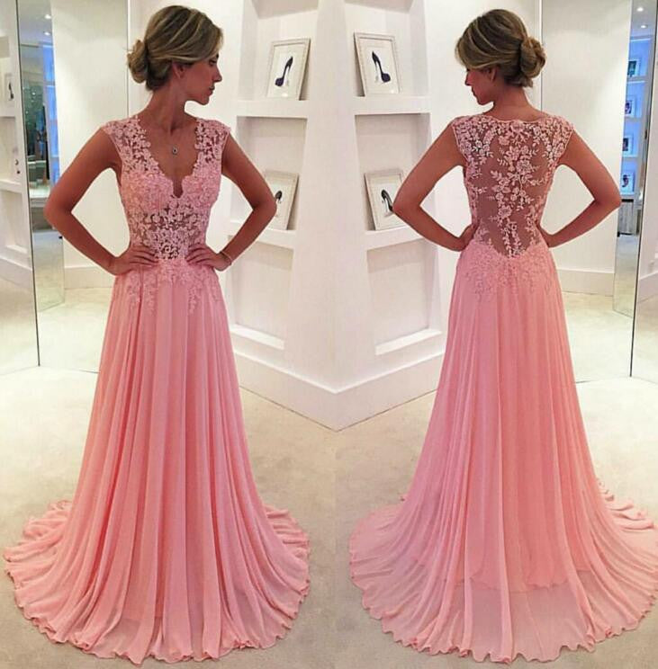 L131 Cap Sleeve Sexy V Neck Appliques Floor Length Chiffon Long Evening Gowns Plus Size, V Neck Prom Dresses