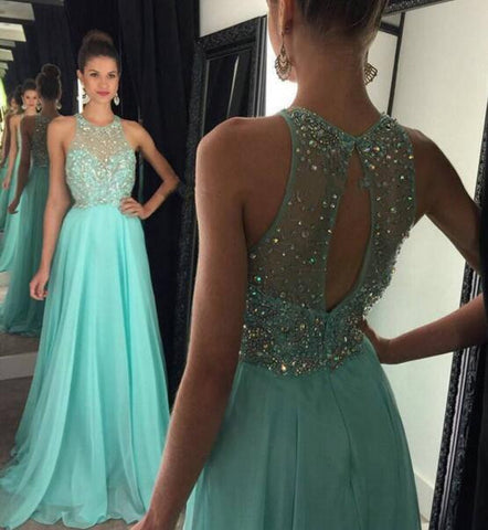 L134 Halter Heavy Handmade Beaded Long Chiffon Light Blue Evening Dress, Turquoise Evening Dresses