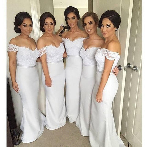 L135 Off-Shoulder White Floor Length Long Lace And Satin Bridesmaid Dresses Eevening Dress Prom Gown