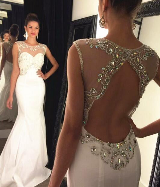 L136 Scoop Heavy Beaded Cheap White Evening Dresses, Woman Evening Dresses Elegant