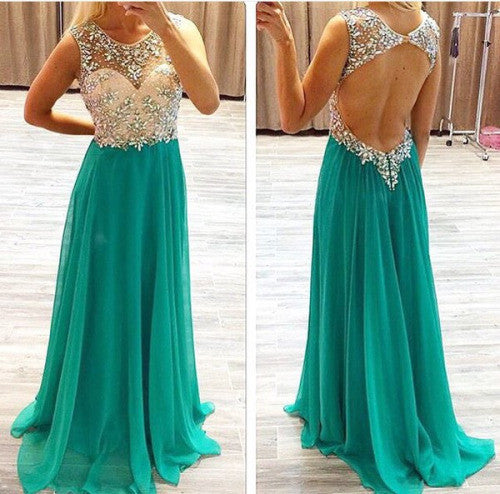 L138 Scoop Neckline Beaded Bodice Open Back Party Dress Evening Gown