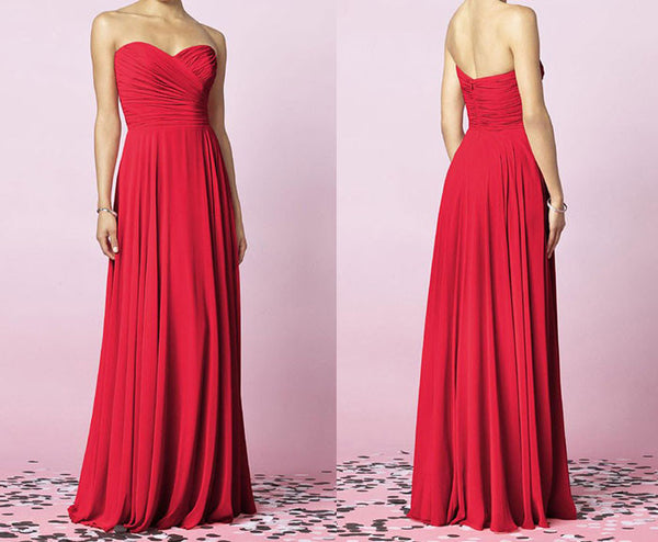 L13 Hot Pink Prom Gowns,Sweetheart Long Bridesmaid Dresses,Simple Prom Gowns