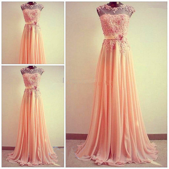 L140 Lace Top O Neck Prom Dresses, Coral Bridesmaid Dresses, Charming Lady Dresses
