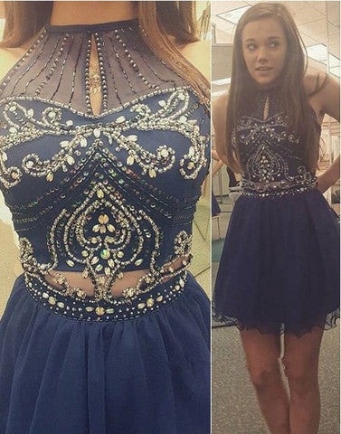 L142 Halter Criss-Crossed Straps Open Back Fully Beaded Bodice Knee Length Short Mini Dress Cocktail Party Dress