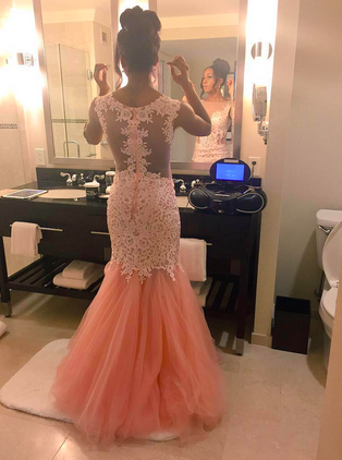 L146 Pink Cap Sleeves Lace Bodice And Tulle Skirt Slim Fit To Flare Formal Occasion Party Dress Prom Gown
