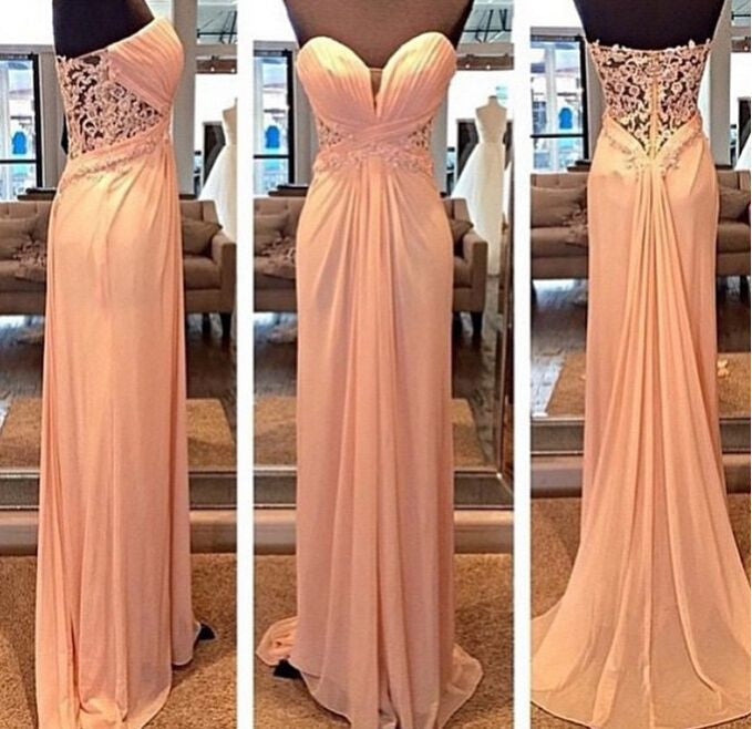 L147 Strapless Runched Bodice And Floor Length Long Chiffon Skirt Evening Dress With Lace Back Prom Gown
