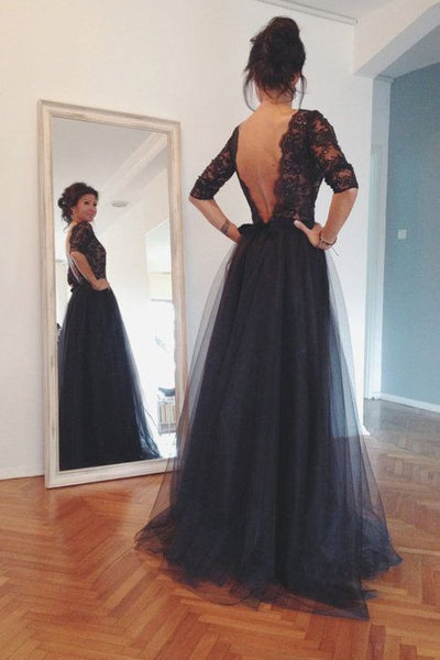 L148 Women's 34 Sleeves Bateau Neckline Lace Bodice With Sequins And Tulle Skirt Black Backless Dress