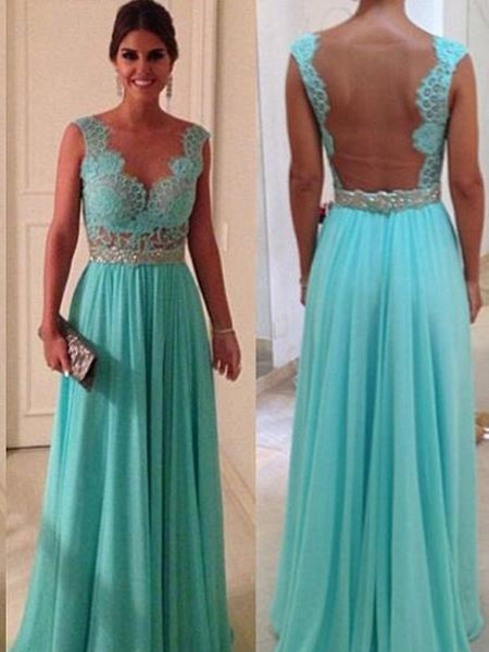 L149 Top Selling Charming Light Blue Lace Top Empire Waist Long Chiffon Evening Dresses, Turquoise Evening Dresses