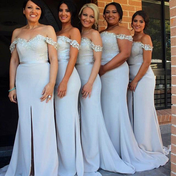 L14 Off the Shoulder Long Prom Gowns, Bridesmaid Dresses, Light Blue Long Prom Gowns