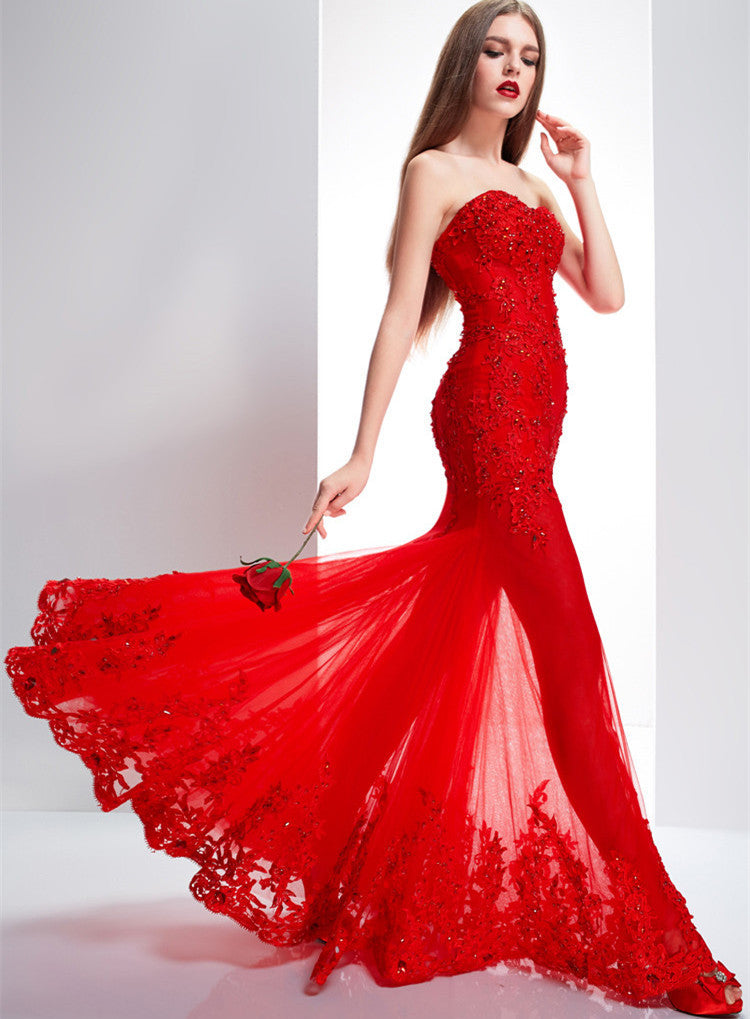L150 Top Selling Sexy Mermaid Sweetheart Appliques Beaded Long Red Lace Chapel Train Evening Dresses