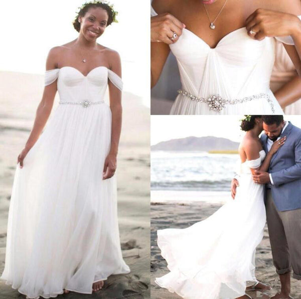 L152 Summer Beach Wedding Dresses, Chiffon White Wedding Gowns, Cheap Wedding Dresses
