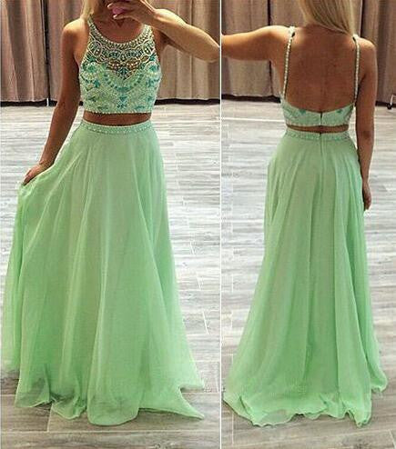 L154 Tank Jacket Spaghetti Straps Sage Chiffon 2 Pieces Floor-Length Beaded Long Prom Dresses, Sexy Handmade Dress In China