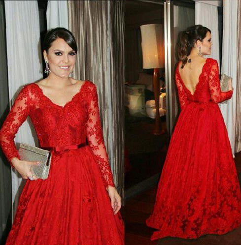L158 Red Lace Gowns,Long Sleeve Lace Evening Dresses,Hot Red Lace Prom Gowns