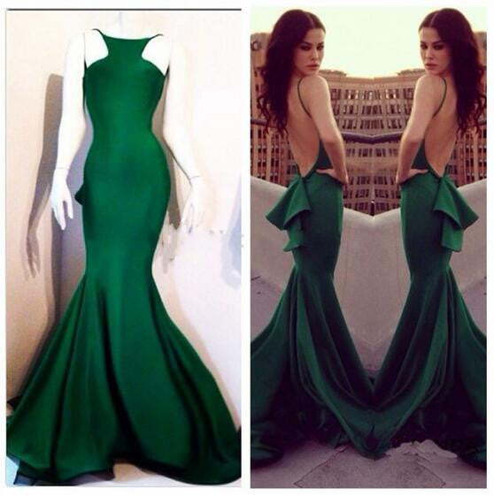 L161 Sexy Mermaid Hqalter Backless Long Chapel Trian Prom Gowns, Wonderful Evening Dresses