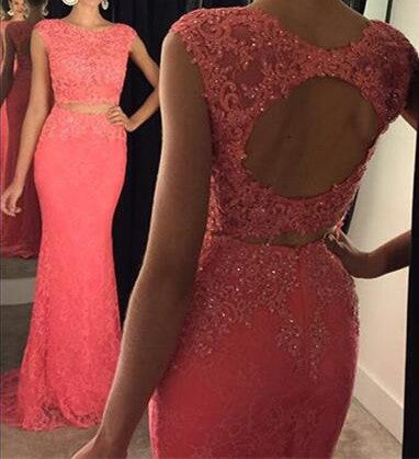 L166 Scoop Long Lace Evening Dresses, Cap Sleeve Dresses In 2 Pieces, Hot Pink Evening Dresses