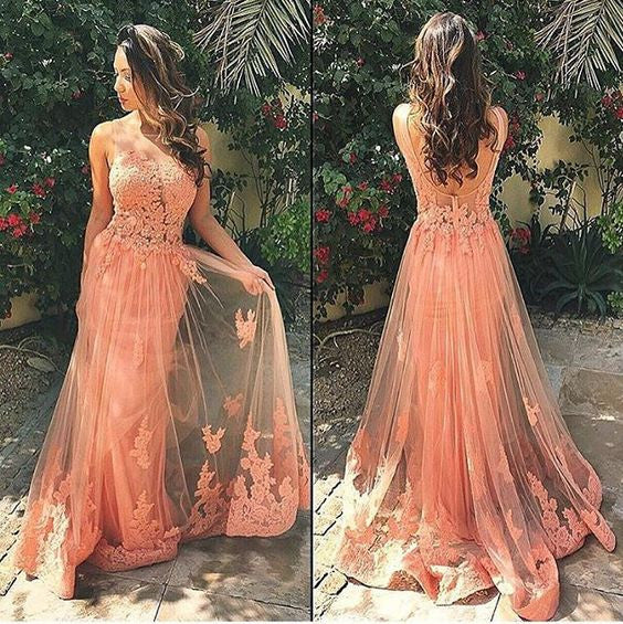 L167 Charming Long Lace Tulle Prom Dresses, Scoop Long Evening Dress 2017