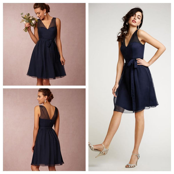 L16 V Neck Short Homecoming Dresses, Knee Length Prom Gowns