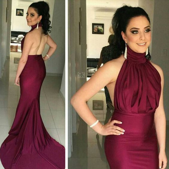 L170 Mermaid Long Evening Gowns, Burgundy Evening Dress,Off Shoulder Party Dress