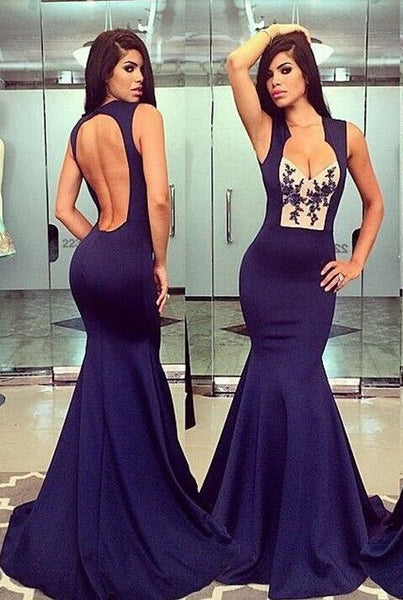 L171 Mermaid Dresses, Purple Chiffon Evening Dresses, Long Evening Dresses