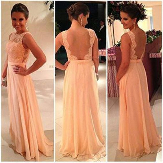 L176 Scoop Backless Long Chiffon Coral Evening Dresses, Celebrity Evening Dresses