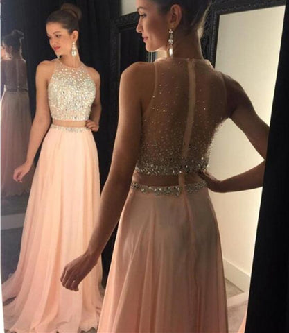 L178 O Neck Heavy Beaded Floor Length 2 Pieces Dresses, Pink Prom Gowns