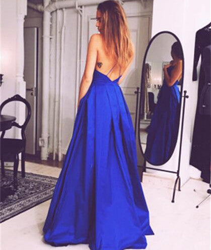 L179 Spaghetti Straps V Neck Royal Blue Long Backless, Evening Dresses