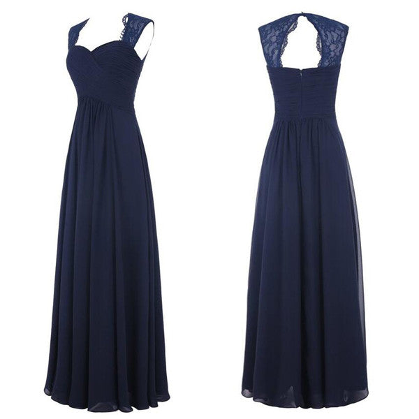 L17 Real Made Long Prom Gowns, Key Hole Royal Blue Long Bridesmaid Dresses