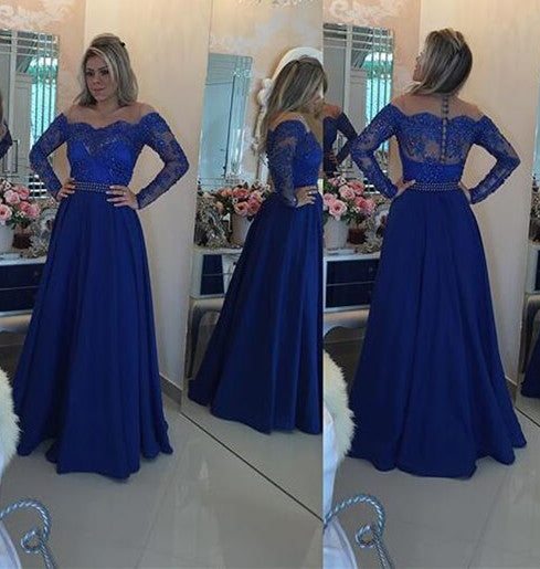 L183 Royal Blue Cheap Chiffon Evening Dress, Long Sleeve Evening Dresses