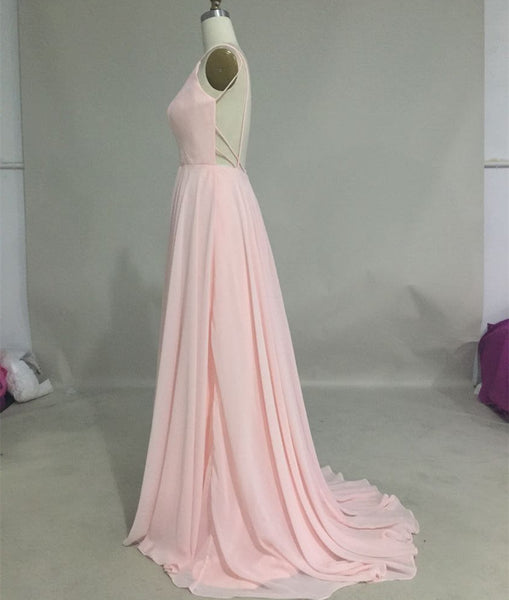 L186 Cheap Chiffon Long Prom Dresses, Pink Prom Dresses, Evening Dresses Long