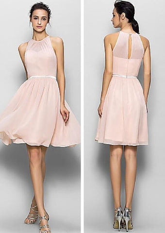 L18 Halter Long Prom Gowns, Simple Homecoming Dresses, Pink Bridesmaid Dresses