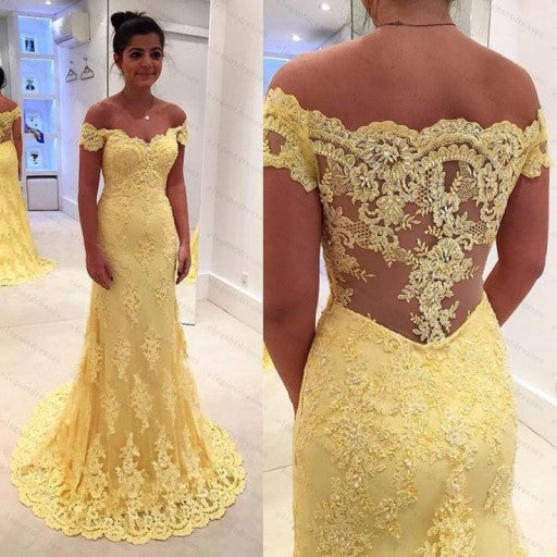 L193 Chapel Train Daffodal Lace Long Girl Prom Dresses,Celebrity Evening Dresses