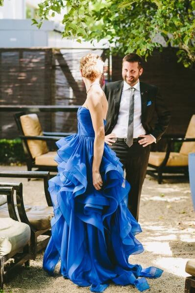 L197 Strapless Royal Blue Evening Dress, Layers Real Photo Evening Dresses, Turquoise Evening Dresses