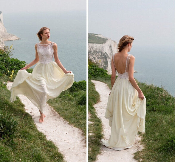 L198 Summer Beach Long Chiffon Wedding Dresses, Wedding Dress Party Dress