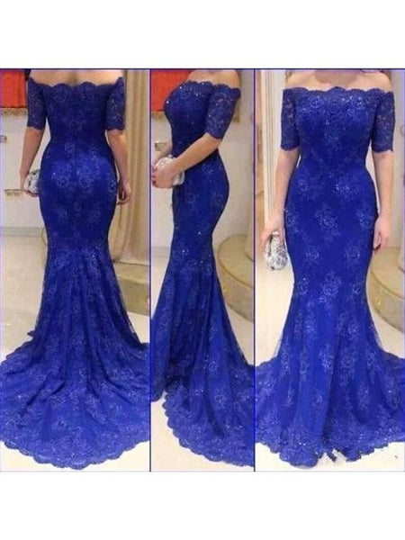 L200 One Boat Neck Short Sleeve Mermaid Long Prom Dress, Royal Blue  Prom Evening Dresses New Designer