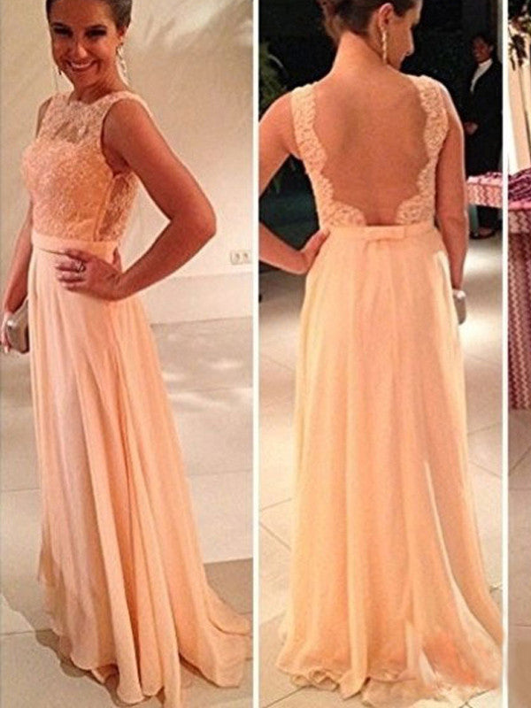 L202 Scalloped Tank Sleeveless A Line Floor Length Coral Chiffon Long Evening Dresses,Woman Evening Dresses Elegant