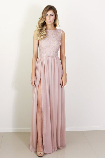 L21 Lace Top Pink Long Prom Gowns, Bridesmaid Dresses,Evening Dresses