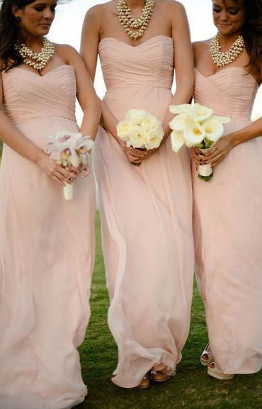 L23 Simple Bridesmaid Dresses, Long Chiffon Prom Goens, Charming Bridesmaid Dresses