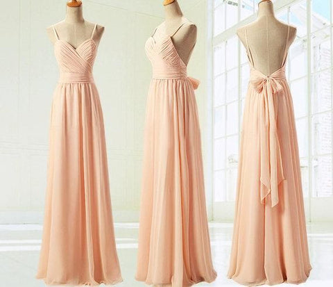 L27 Real Made Long Bridesmaid Dresses, Long Coral Chiffon Bridesmaid Dresses