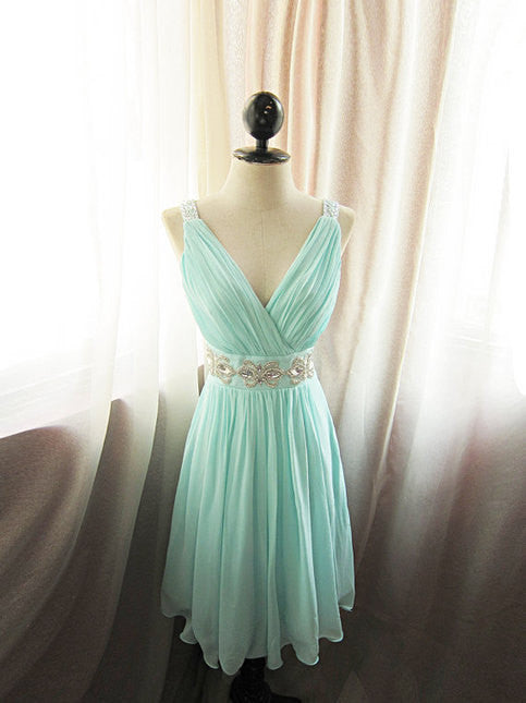 L29 Mint Sexy Short Bridesmaid Dresses, Sexy V Neck Short Homecoming Dresses