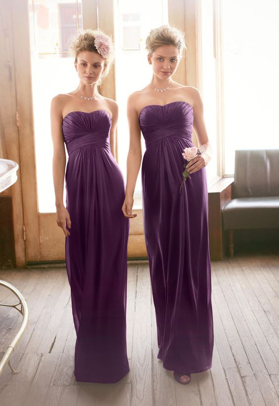 L2 A line long chiffon prom dress,purple bridesmaid dress,bridesmaid dress
